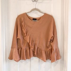 Topshop Peach Pink Bell Sleeve Crop Blouse Size 2
